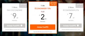 Les tarifs de PureVPN