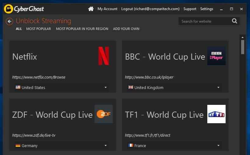 On peut facilement débloquer une plateforme de streaming avec CyberGhost